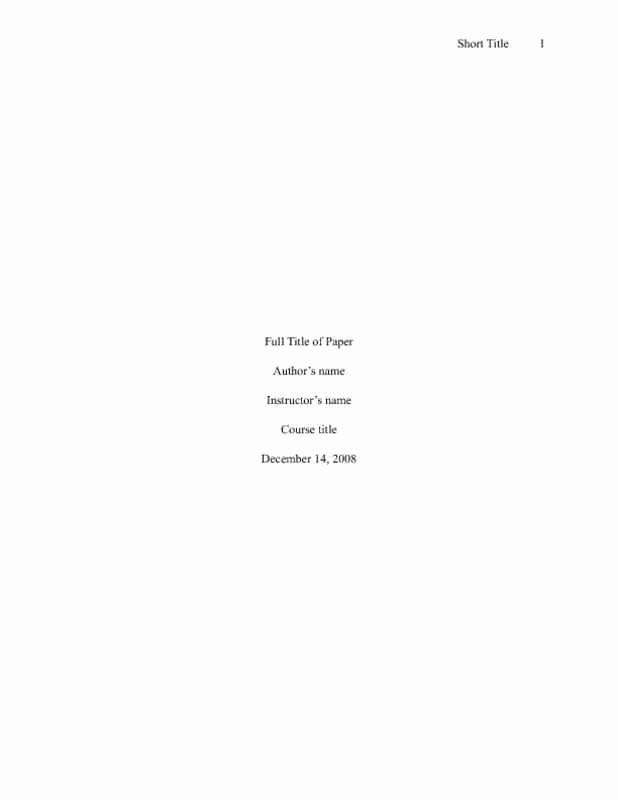 Apa Title Page In Word Inspirational Apa Cover Page Template