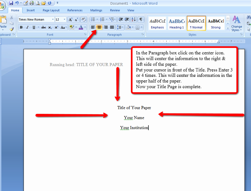 Apa Title Page In Word New Apa Style and format