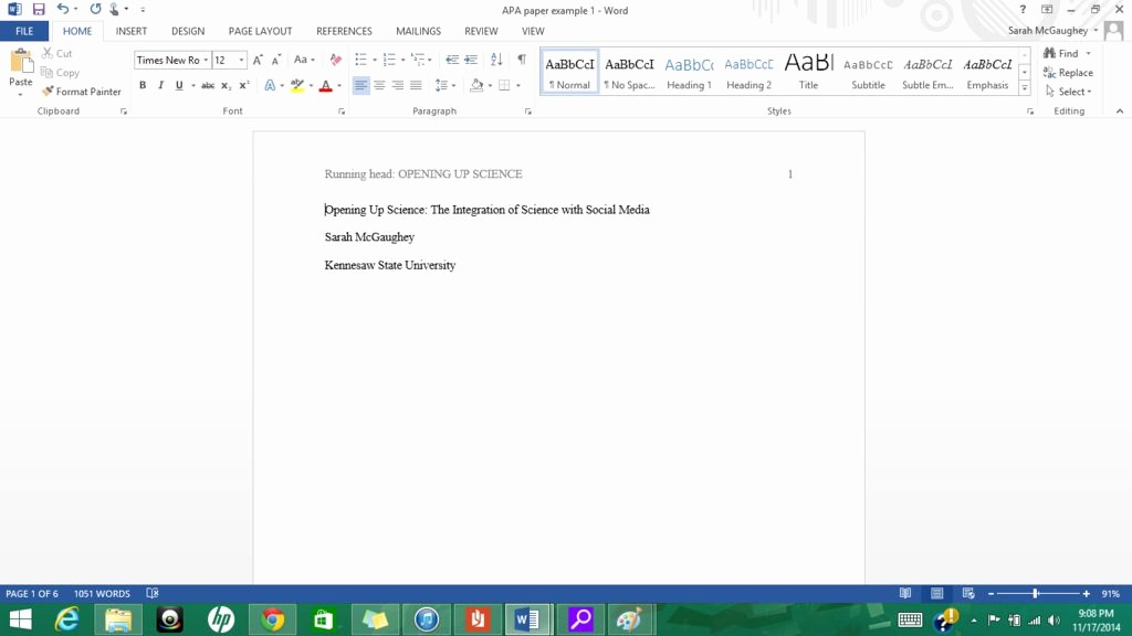 Apa Title Page In Word New formatting Apa Style In Microsoft Word 2013 9 Steps