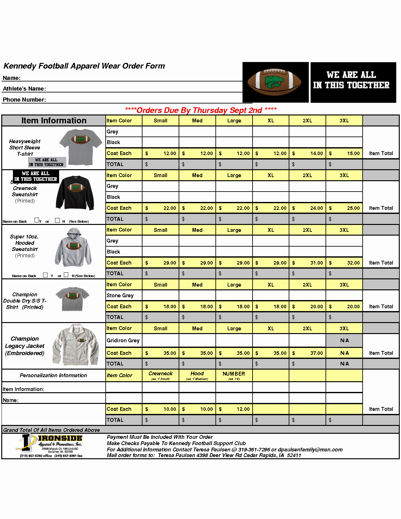 Apparel order form Template Excel Awesome Best S Of Clothing order form Template T Shirt