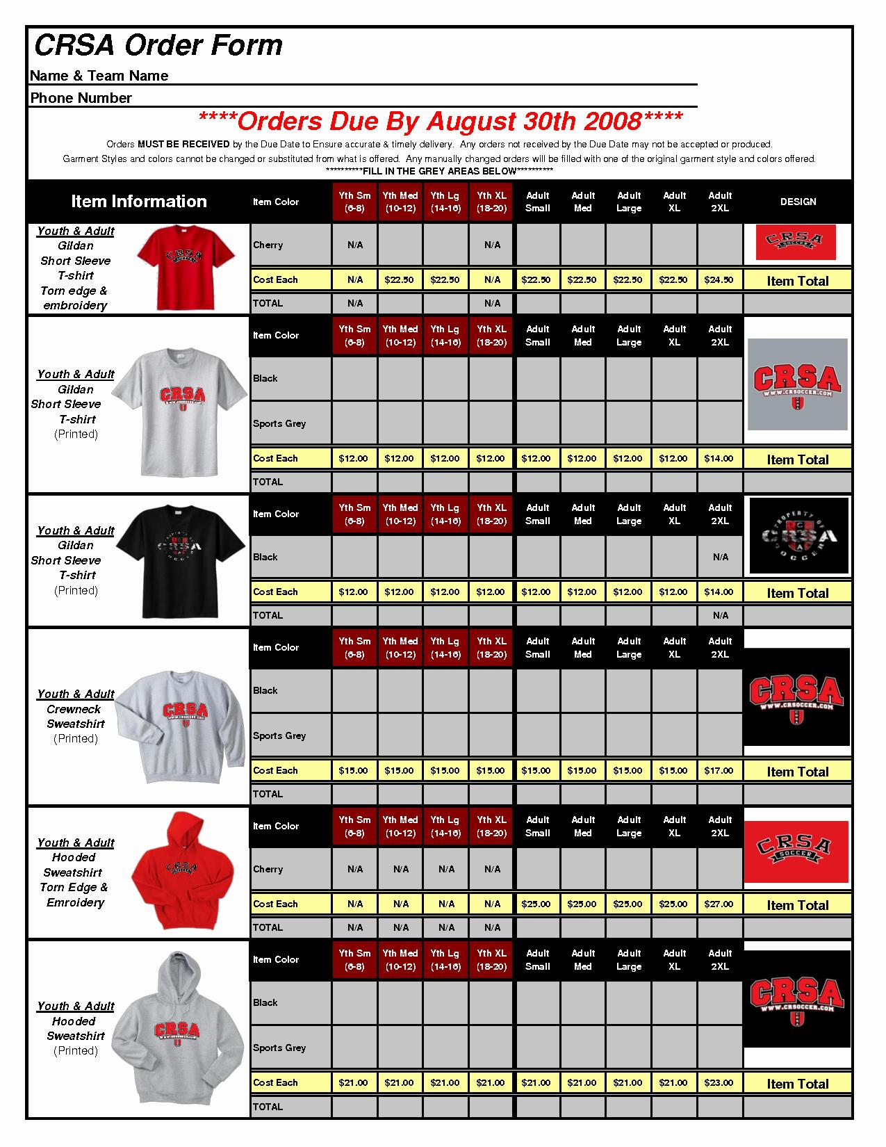 Apparel order form Template Excel Elegant T Shirt order form Template Excel 1uive8