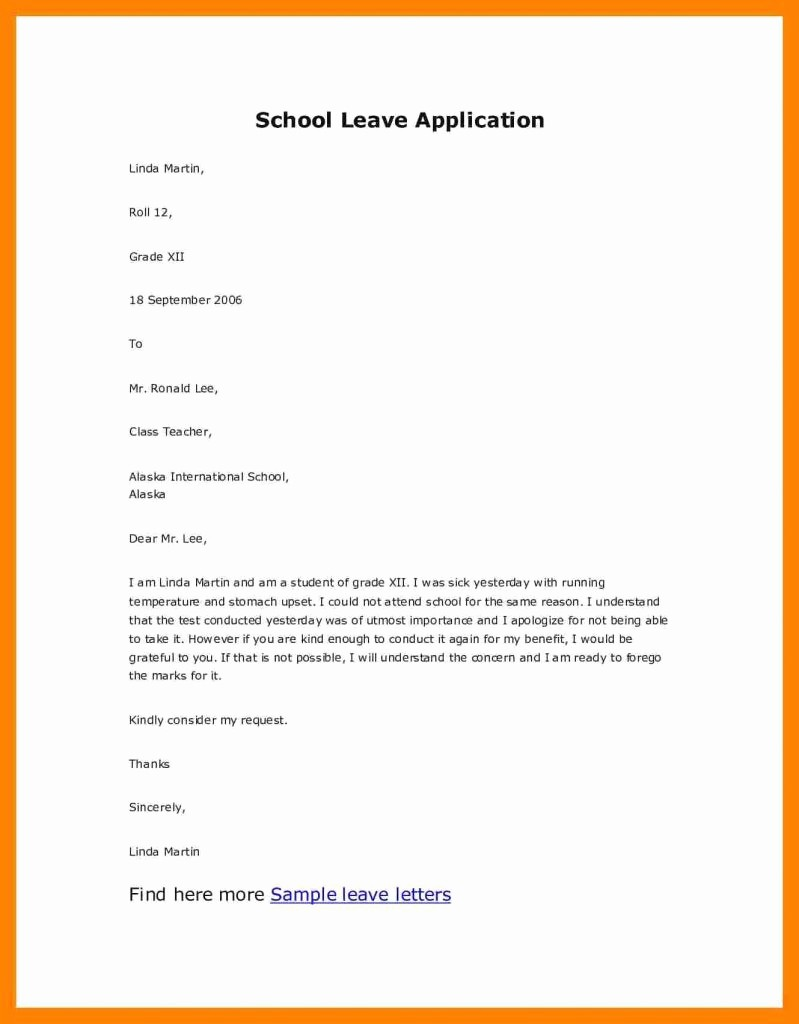Application for Absent In School Fresh Application for Leave Absence From School Filename