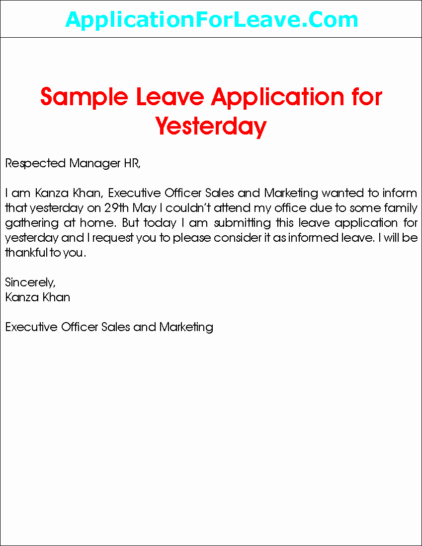 Application for Absent In School Fresh Sample Leave Application for Yesterday