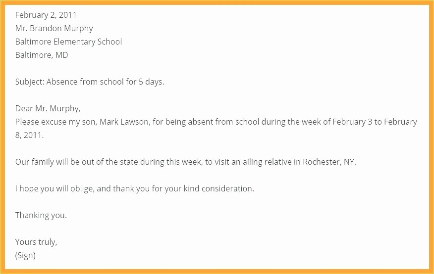 Application for Absent In School Fresh School attendance Letter Template Absent for Sick Absence