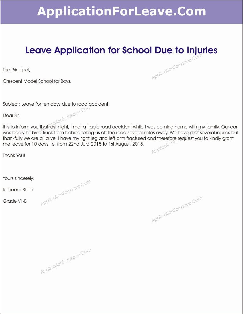 Application for Absent In School Fresh School Leave Letter for Fever Pdf