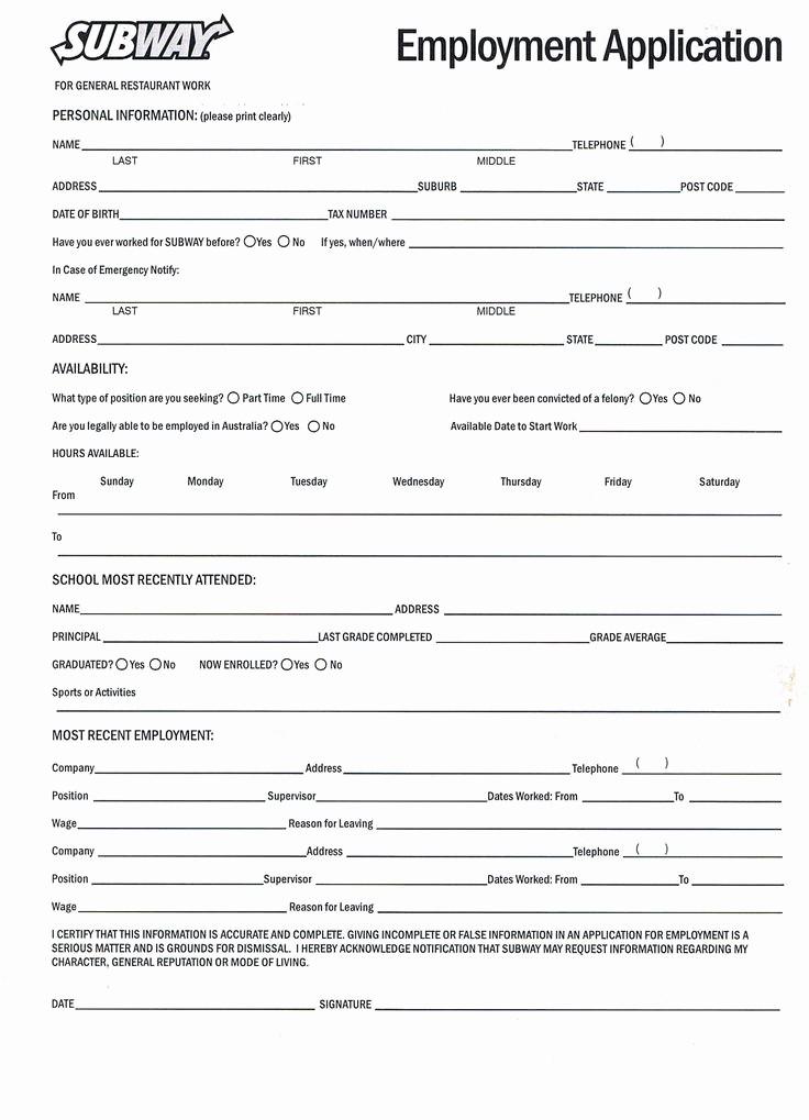 printable job applications