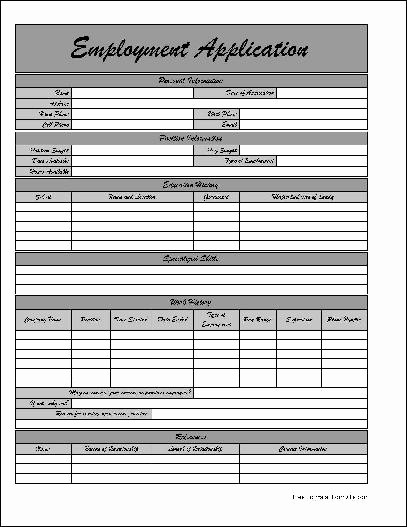 Application for Employment form Free Beautiful Employment Application Editable