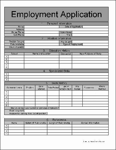 Application for Employment form Free Elegant Free Numbered Row Job Application From formville