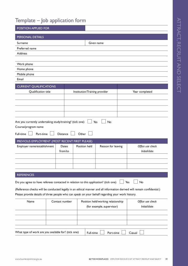 Application for Employment form Free New 7 Application form Templates