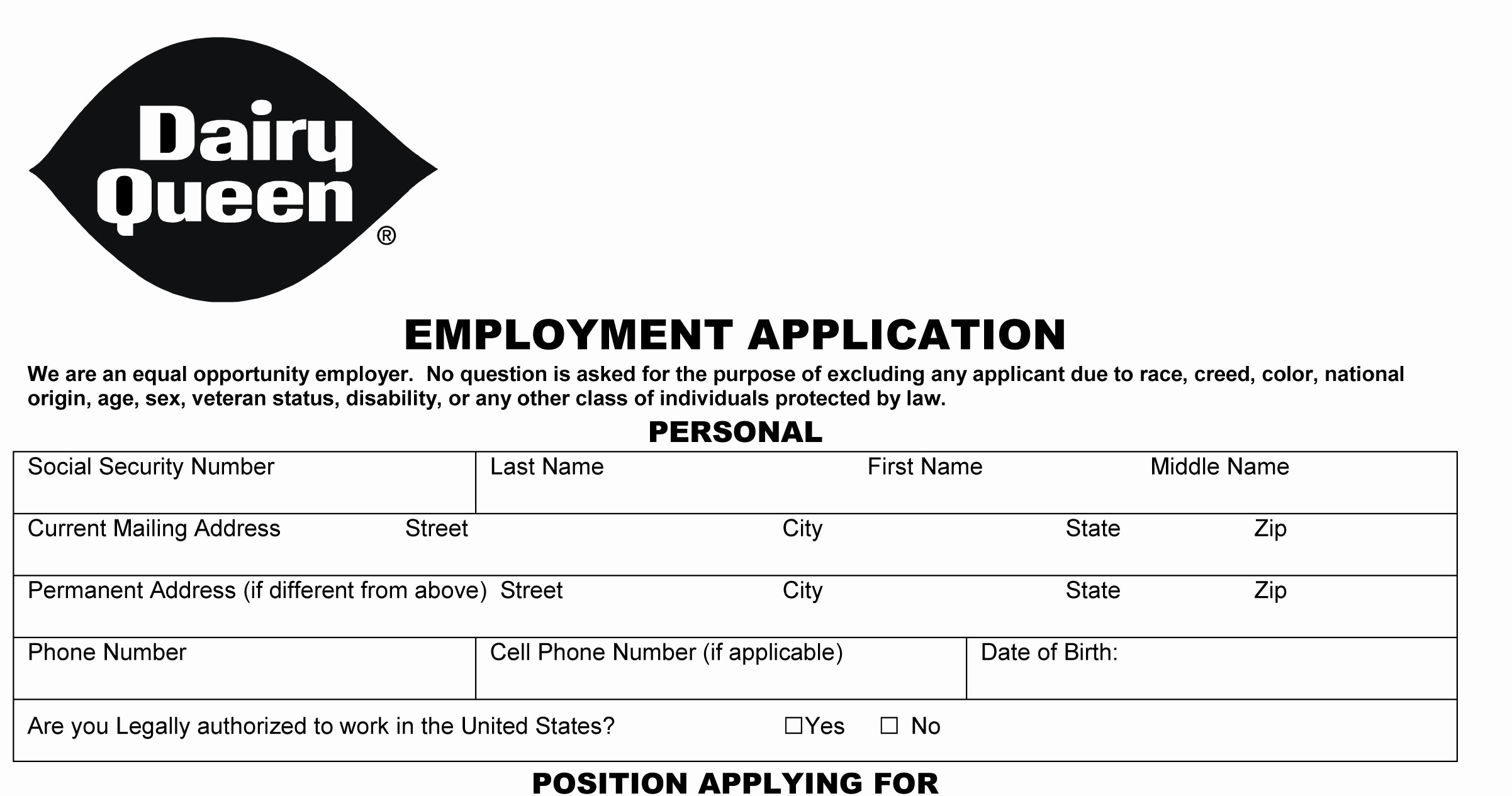 Application for Employment form Pdf Awesome Dairy Queen Job Application Printable Employment Pdf forms