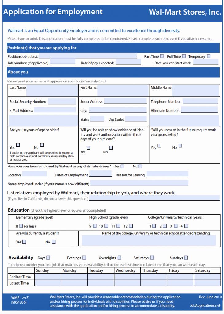 Application for Employment form Pdf Awesome Wal Mart Job Application Adobe Pdf Apply Line