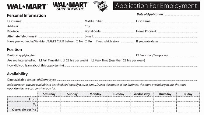 Application for Employment form Pdf Best Of Walmart Job Application Line Apply for Walmart