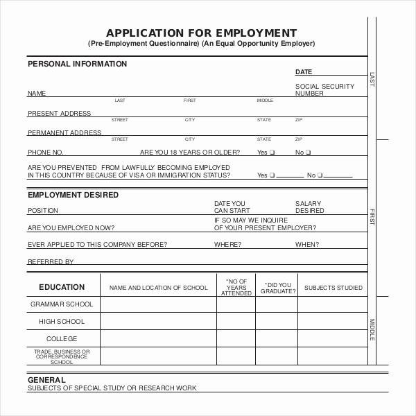Application for Employment form Pdf Fresh Sample Employment Application forms 12 Free Documents