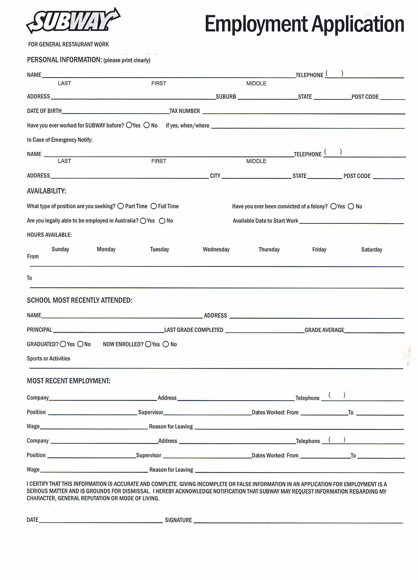 Application for Employment form Pdf Inspirational Printable Employment Application for Subway