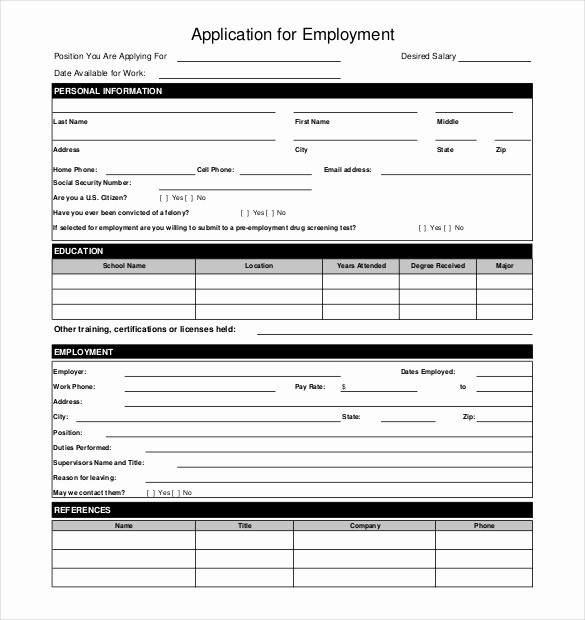 Application for Employment form Pdf Lovely 10 Restaurant Application Templates – Free Sample
