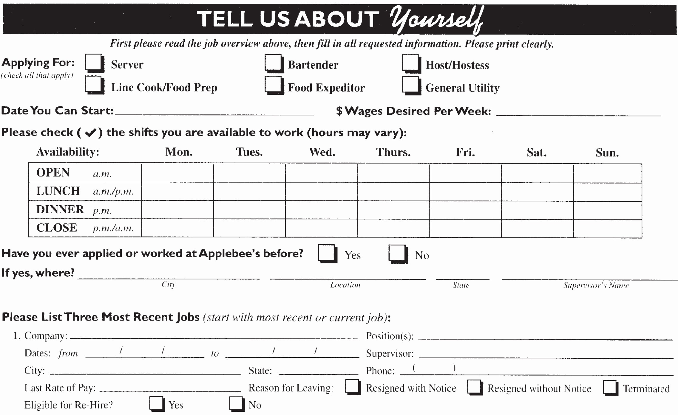 Application for Employment form Pdf Lovely Applebee S Job Application Printable Employment Pdf forms