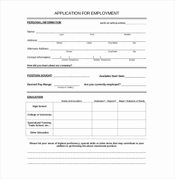 Application for Employment Free Template Awesome Employment Application Templates – 10 Free Word Pdf