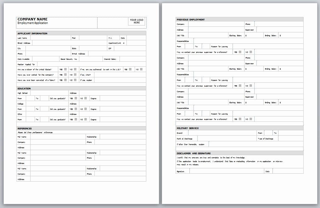 Application for Employment Free Template Luxury Employment Application Template
