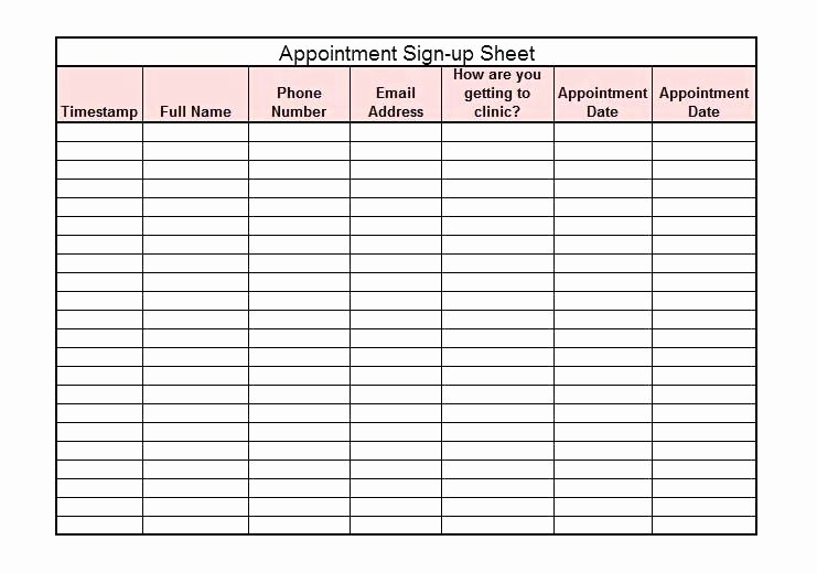 Appointment Sign In Sheet Template Best Of Salon Appointment Book Template Printable Sign Up Sheet