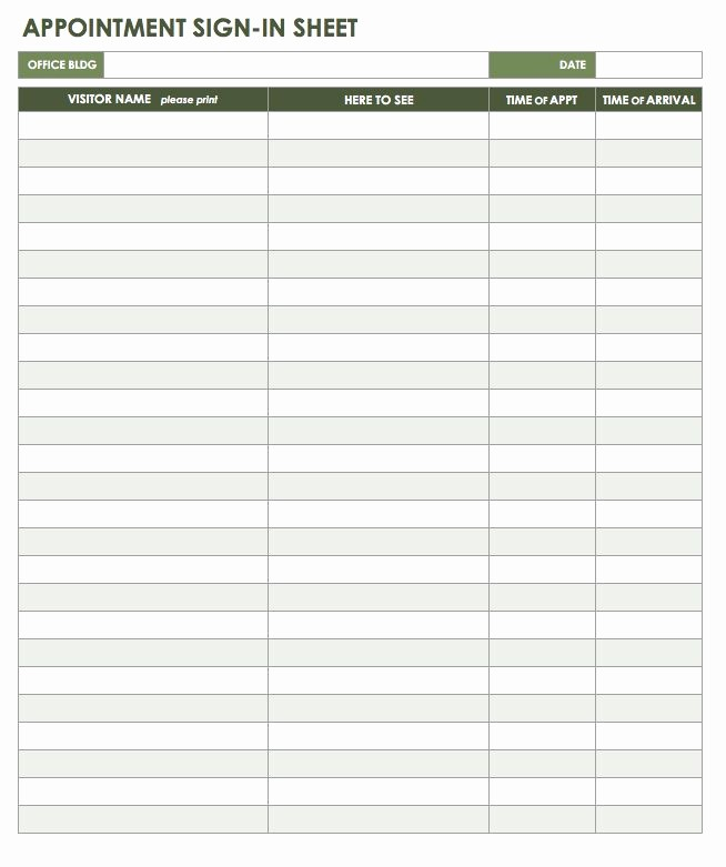 Appointment Sign In Sheet Template Lovely Free attendance Spreadsheets and Templates