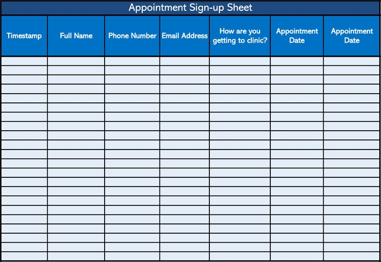 Appointment Sign In Sheet Template Luxury 26 Free Sign Up Sheet Templates Excel & Word