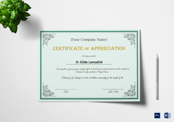 Appreciation Certificate Templates for Word Awesome 29 Certificate Of Appreciation Templates Word Pdf Psd
