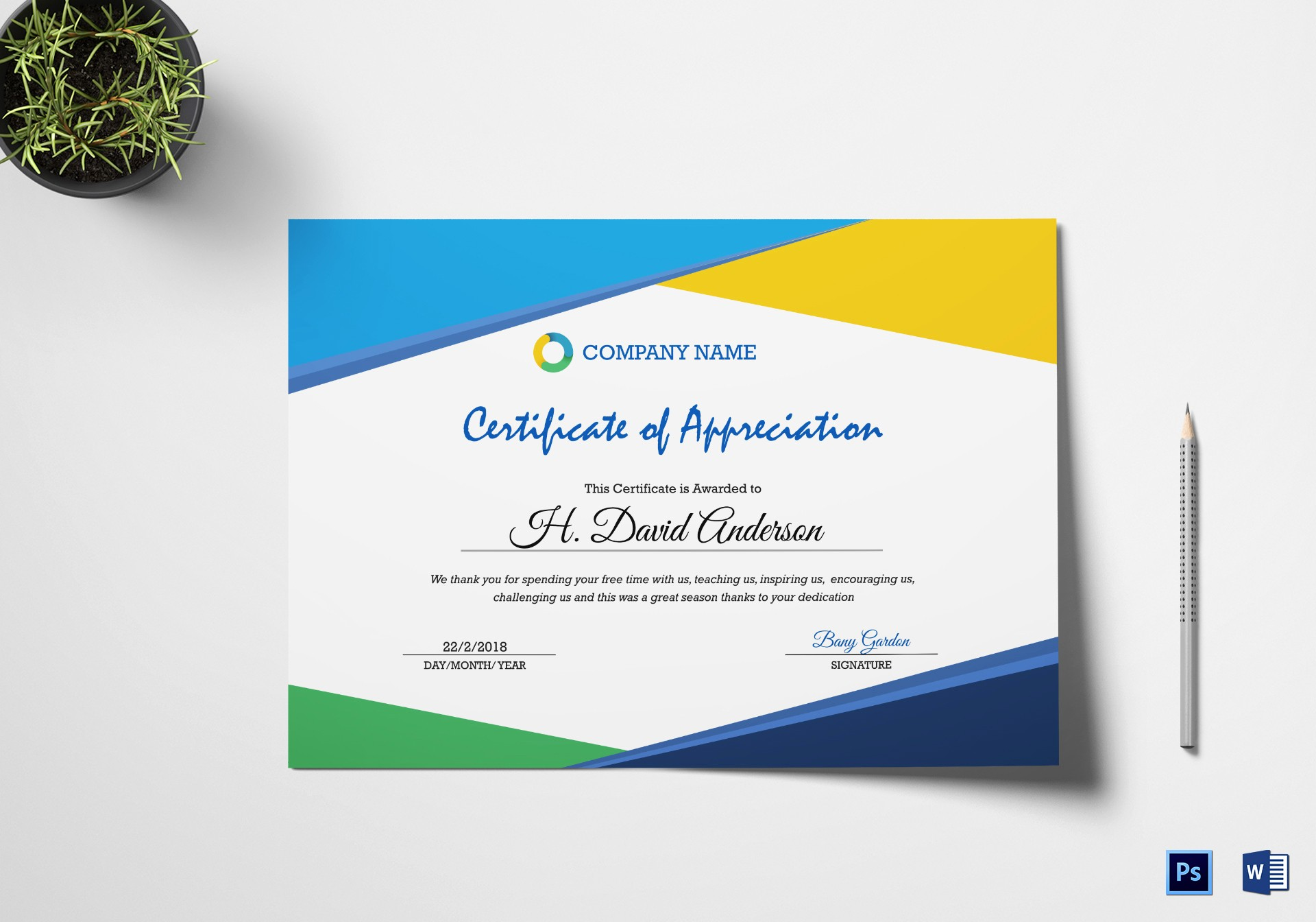 Appreciation Certificate Templates for Word Best Of Pany Appreciation Certificate Design Template In Psd Word