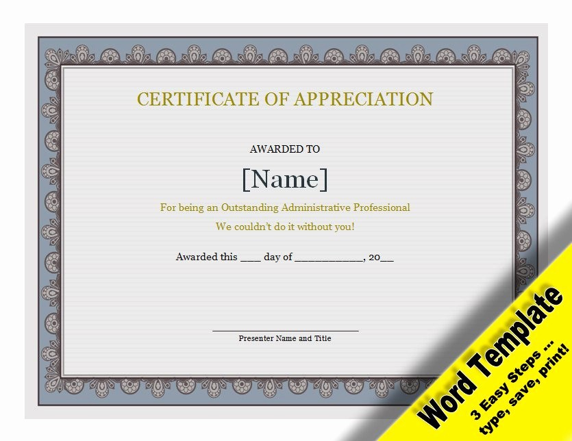 Appreciation Certificate Templates for Word Inspirational Certificate Of Appreciation Editable Word Template