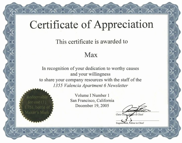 Appreciation Certificate Templates for Word Luxury Certificate Templates