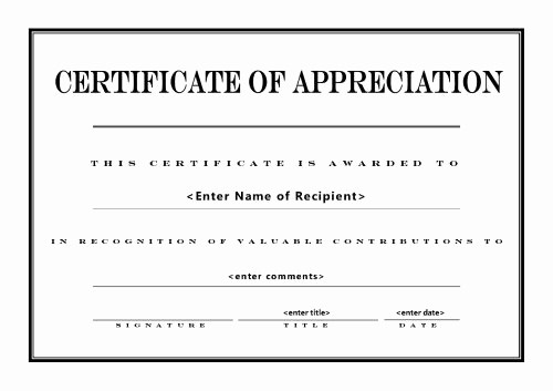Appreciation Certificate Templates for Word Luxury Free Certificate Appreciation Templates Invitation