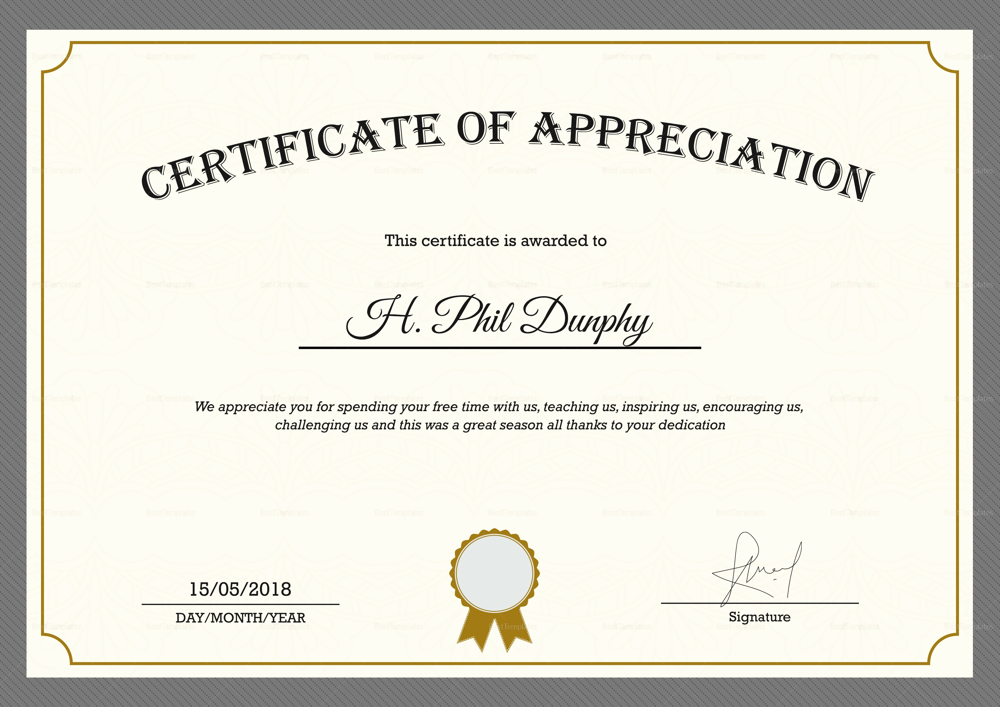 Appreciation Certificate Templates for Word Luxury Sample Pany Appreciation Certificate Design Template In