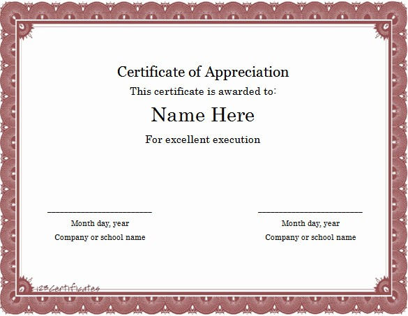 Appreciation Certificate Templates for Word Luxury Word Certificate Template 49 Free Download Samples