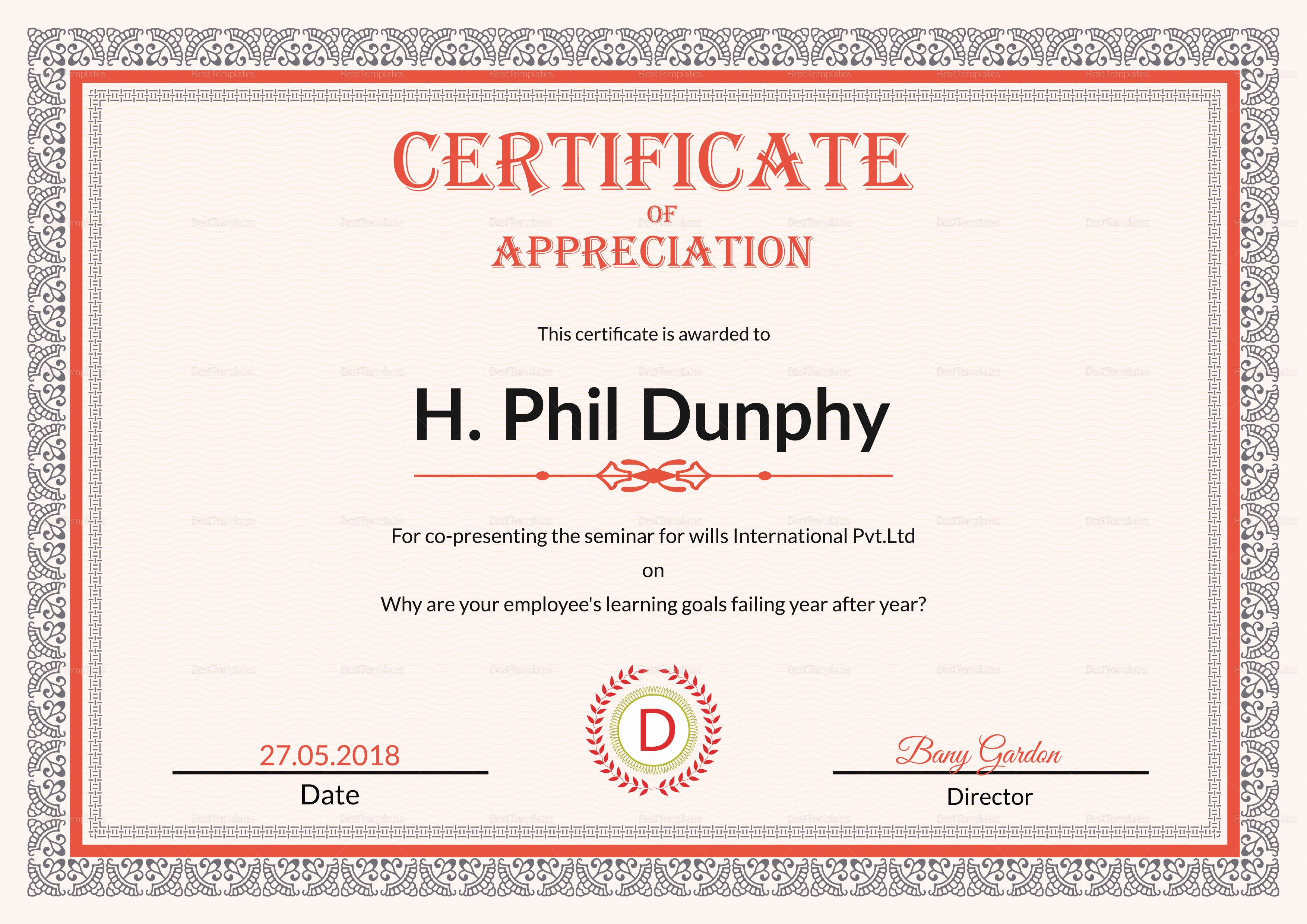 Appreciation Certificate Templates for Word New Certificate Of Appreciation Design Template In Psd Word