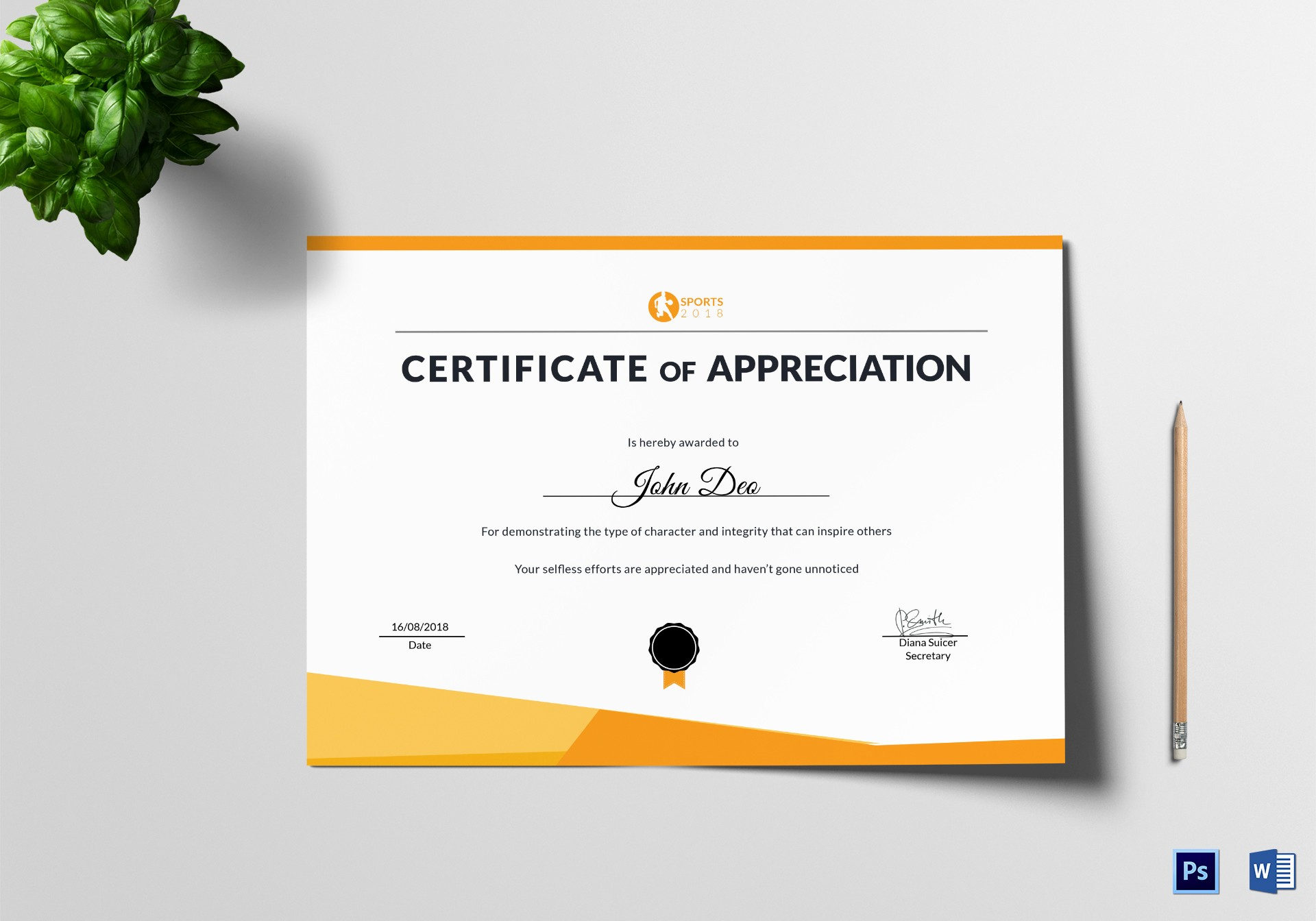 Appreciation Certificate Templates for Word Unique Sportsmanship Appreciation Certificate Design Template In