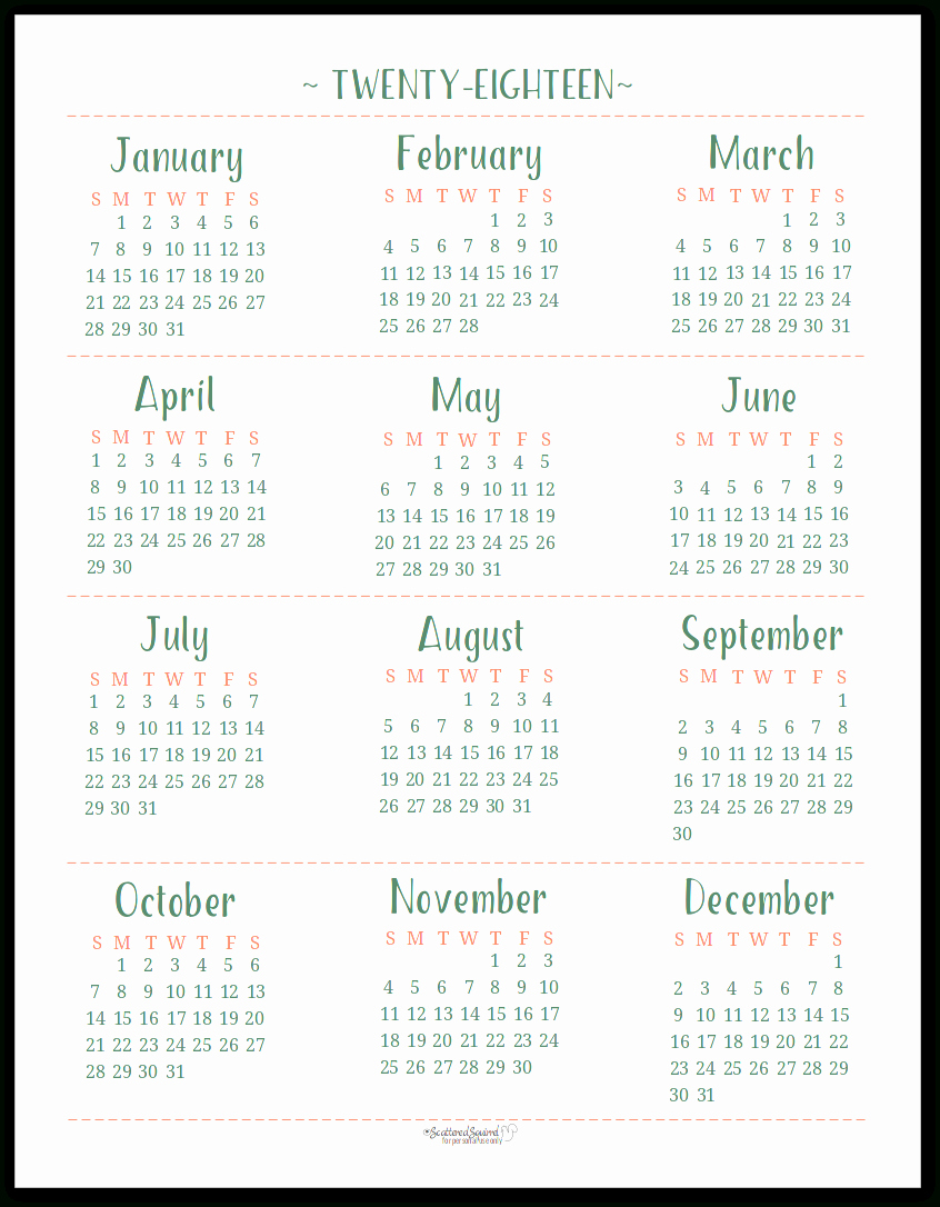At A Glance 2018 Calendar Awesome 2018 Year at A Glance Printable Calendar