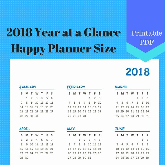 At A Glance 2018 Calendar Awesome 2018 Year at A Glance Year On One Page Calendar Pages
