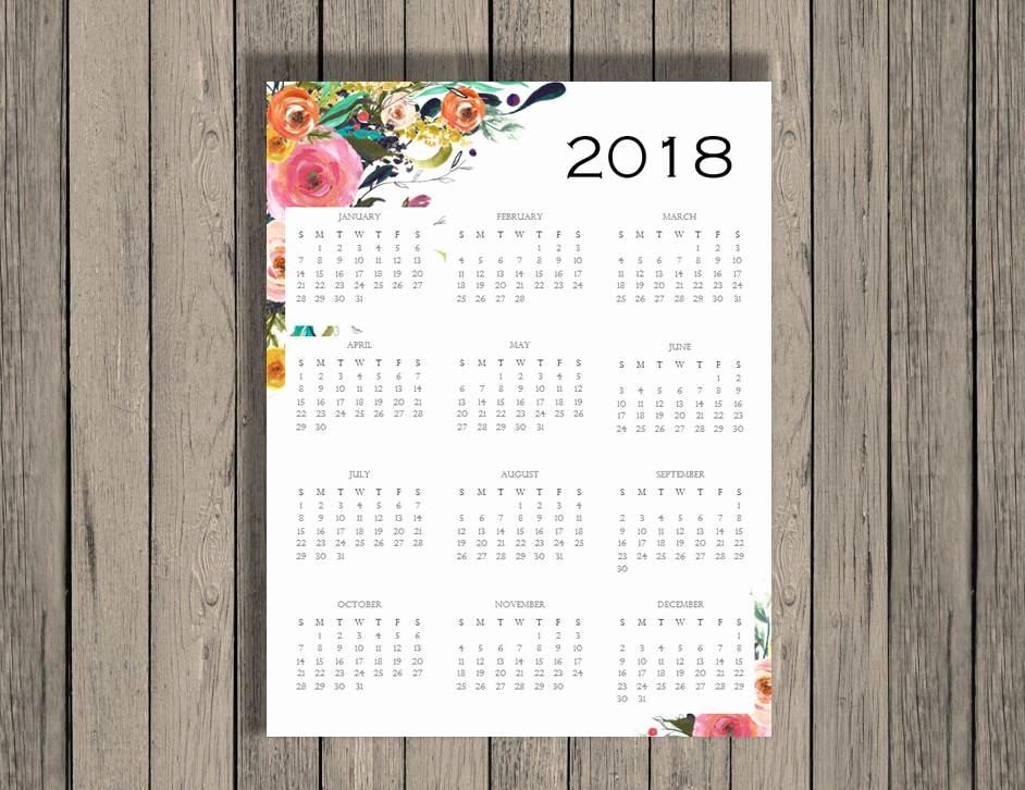 At A Glance 2018 Calendar Awesome 2018 Yearly Calendar 2018 Calendar Calendar Full Page