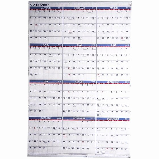 At A Glance 2018 Calendar Awesome at A Glance Pm12 28 2018 Yearly Wall Calendar 24 X 36