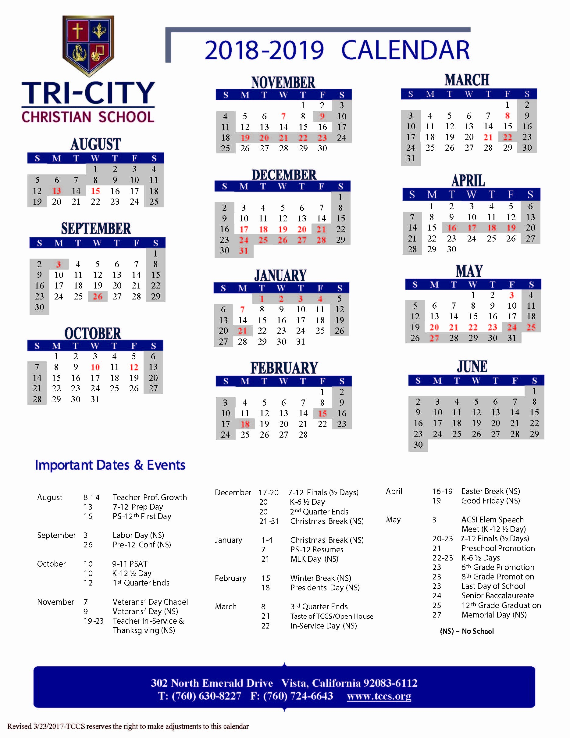 At A Glance 2018 Calendar Awesome Tri City Christian School 2018 2019 Year at A Glance