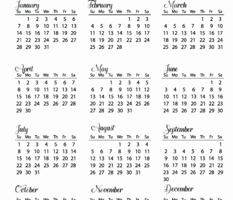 At A Glance 2018 Calendar Best Of 2018 Year at A Glance Calendar Template Word