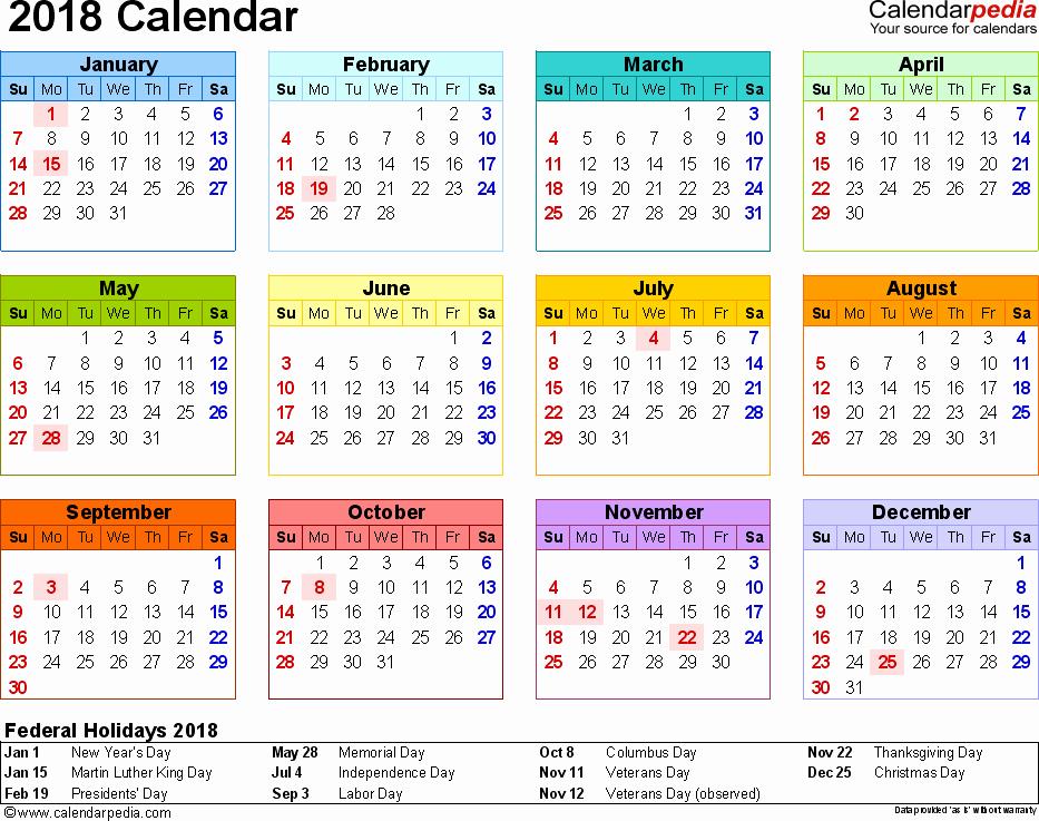 At A Glance 2018 Calendar Elegant 2018 Calendar 17 Free Printable Word Calendar Templates