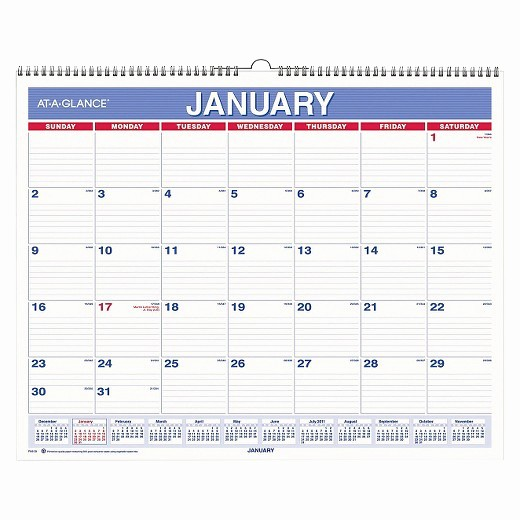 At A Glance 2018 Calendar Elegant at A Glance Monthly Wall Calendar 15 X 12 Red Blue 2018