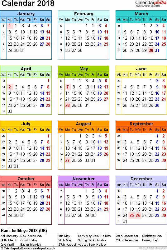 At A Glance 2018 Calendar Elegant Calendar 2018 Uk 16 Free Printable Word Templates