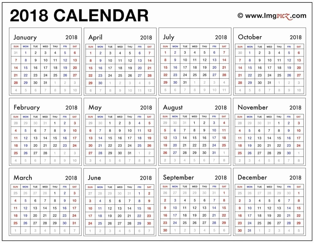At A Glance 2018 Calendar Fresh Year at A Glance 2018 Printable – Template Calendar Design