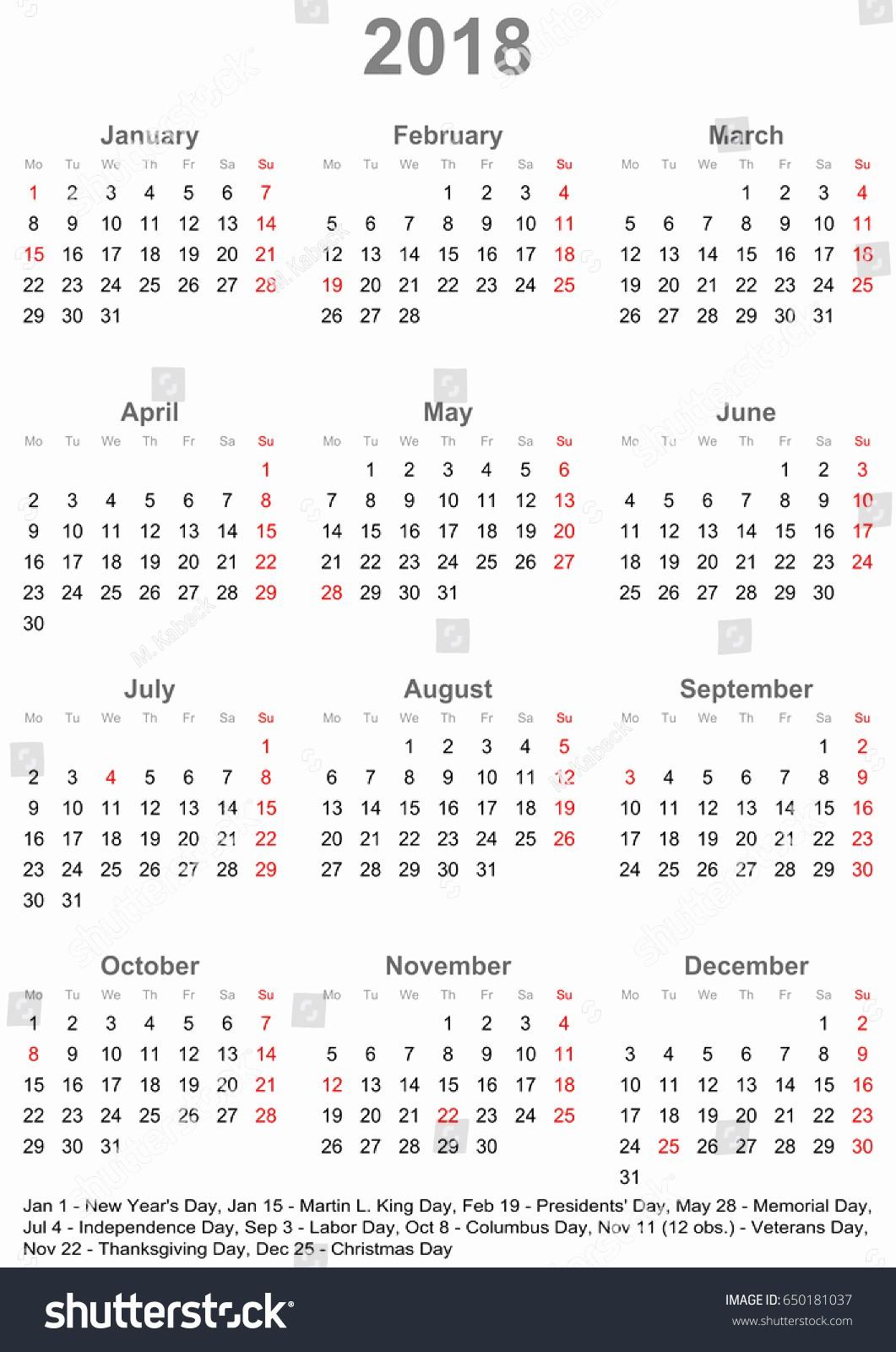 At A Glance 2018 Calendar Inspirational Simple Calendar 2018 E Year Glance Stock Vector