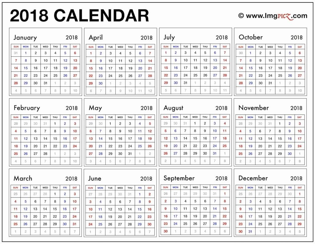 At A Glance 2018 Calendar Luxury 2018 Year at A Glance Calendar Template