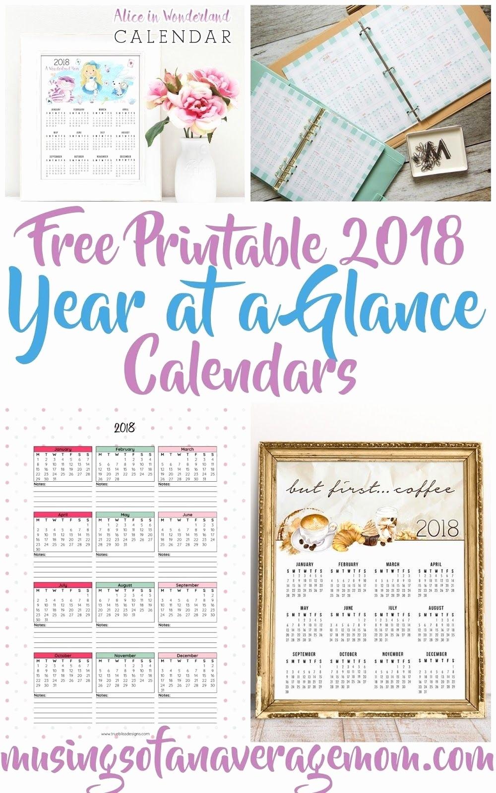 At A Glance 2018 Calendar Luxury Year at A Glance 2018 Printable – Template Calendar Design