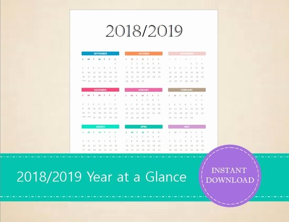 At A Glance 2018 Calendar New 2018 2019 Academic Year at A Glance Calendar Academic