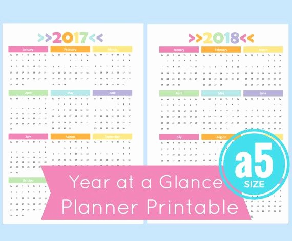 At A Glance 2018 Calendar New A5 Year at A Glance Calendar 2017 Year at A Glance