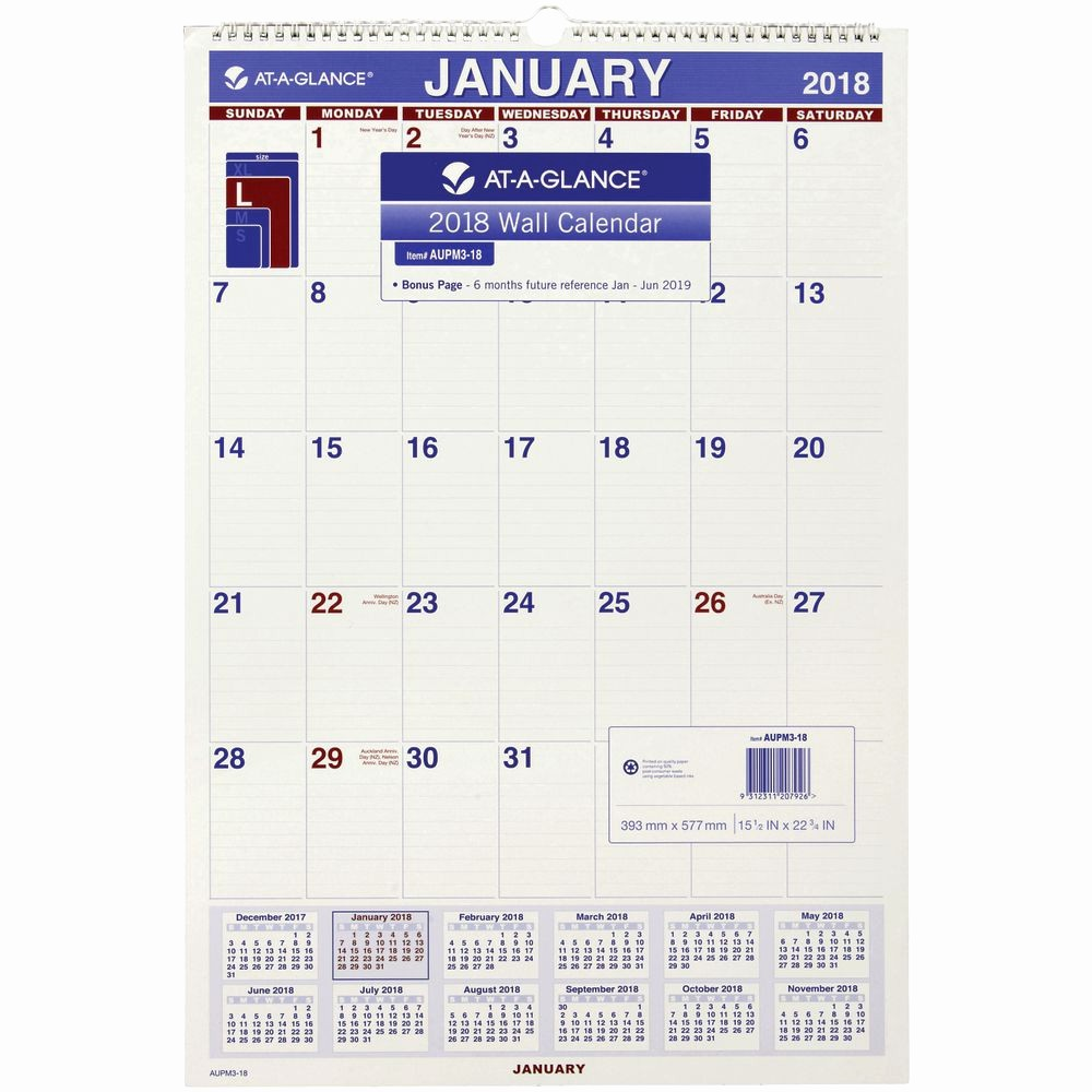 At A Glance 2018 Calendar Unique at A Glance Monthly Wall Calendar 2018 580x399mm